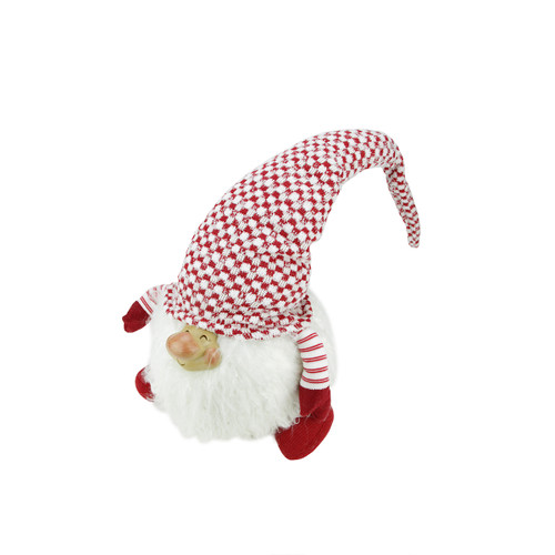 "14.75"" Red and White Cheerful Charlie Sitting Santa Gnome Tabletop Christmas Figurine - IMAGE 1"