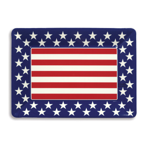 Club Pack of 12 Red, White, and Blue Patriotic Themed Plastic Serving Trays - IMAGE 1