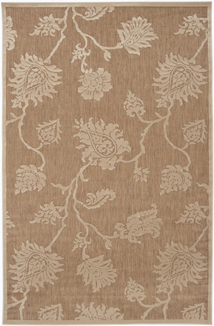 4.5' x 6.5' Beige and Ivory Floral Outdoor Rectangular Area Throw Rug - IMAGE 1