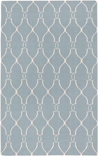 8' Gray and Beige Damask Hand Tufted Wool Area Throw Rug - IMAGE 1