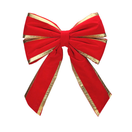 """31"""" Red and Gold Loop Velveteen Trim Christmas Bow - IMAGE 1"""