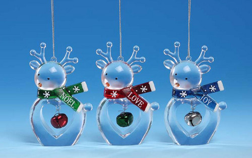 """Club Pack of 12 Clear Icy Crystal Decorative Christmas Deer Ornaments 3.5"""" - IMAGE 1"""