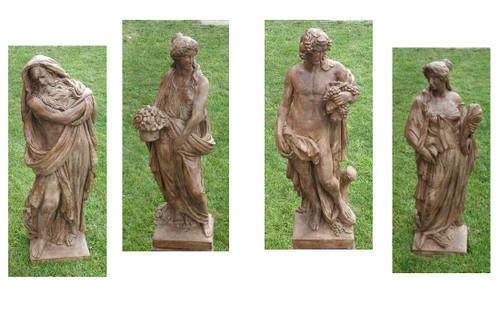 "Set of 4 Brown Four Seasons Outdoor Garden Statues 52"" - IMAGE 1"