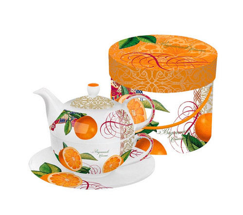 Valencia Orange Bigarrade Couronnee Bone China Tea for One Teapot, Cup and Saucer Set with Gift Box - IMAGE 1