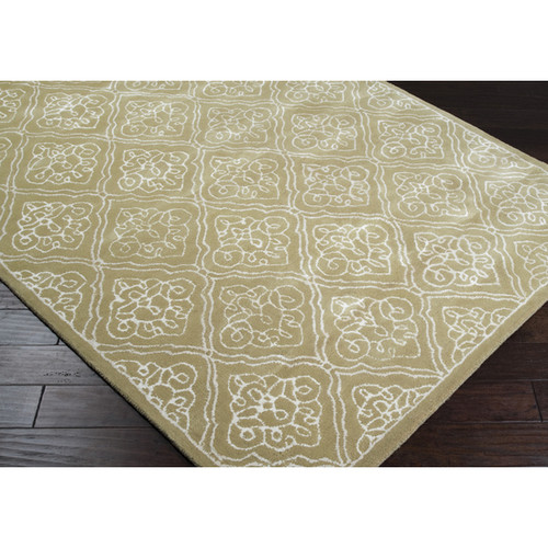 2.5' x 8' Geometric Beige and White New Zealand wool Area Throw Rug Runner - IMAGE 1