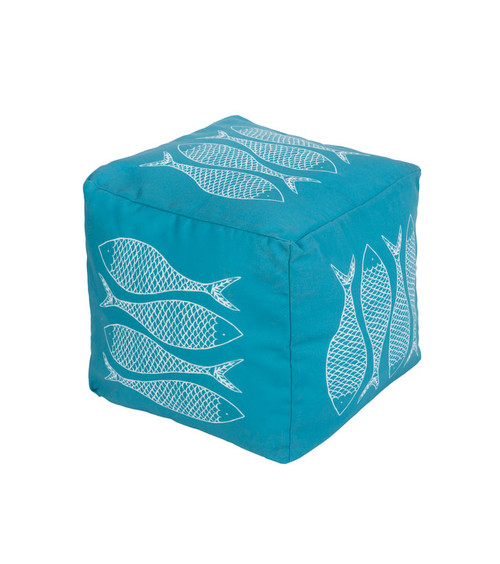 "18"" Sky Blue and Light Gray Mackerel Square Outdoor Patio Pouf Ottoman - IMAGE 1"