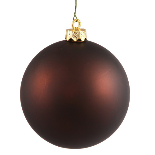 "Matte Chocolate Brown Shatterproof Christmas Ball Ornament 2.75"" (70mm) - IMAGE 1"