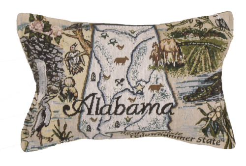 "12"" Beige and Green Alabama Printed Rectangular Throw Pillow - IMAGE 1"