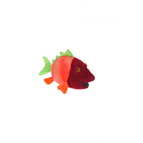 "Set of 4 Green and Orange Handcrafted Plush Colorful Fish Stuffed Animals 5.75"" - IMAGE 1"