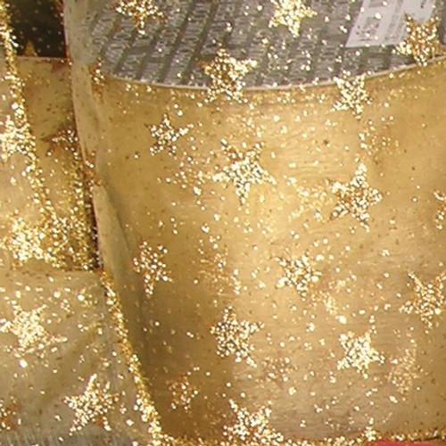 "Sheer Metallic Gold Glitter Stars Wired Craft Ribbon 6"" x 20 Yards - IMAGE 1"