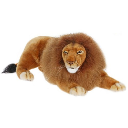 """Set of 2 Brown and Beige Handcrafted Male Lion Stuffed Animals 17.5"""" - IMAGE 1"""