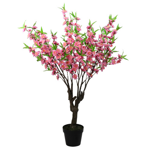 "43.5"" Potted Pink and Green Floral Peach Blossom Artificial Christmas Tree - Unlit - IMAGE 1"