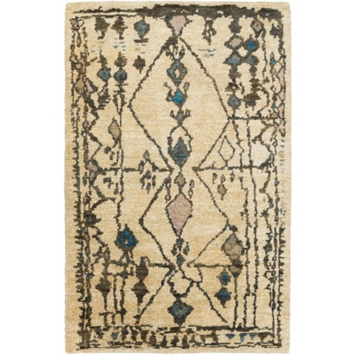 2' x 3' Tribal Visions Chocolate Brown and Cobalt Blue Area Throw Rug - IMAGE 1