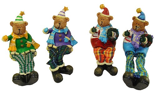 "Club Pack of 144 Vibrantly Colored Plaid Sitting Teddy Bear Christmas Tabletop Figures 5.5"" - IMAGE 1"