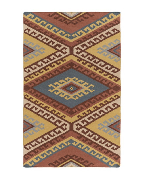 5' x 7.5' Brown and Yellow Hand Woven Rectangular Wool Area Throw Rug - IMAGE 1