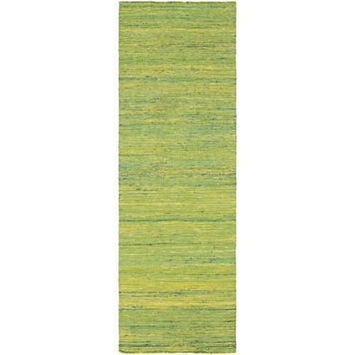 2.5' x 8' Traditional Green and Yellow Hand Woven Rectangular Area Throw Rug Runner - IMAGE 1