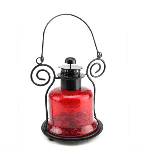 "9.25"" Decorative Distressed Red Bell Shaped Glass Tea Light Candle Holder Lantern - IMAGE 1"
