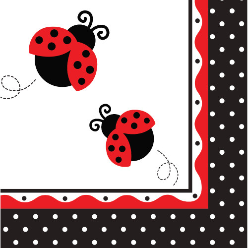 "Club Pack of 192 Red and black Ladybug Disposable Lunch Napkins 6.5"" - IMAGE 1"