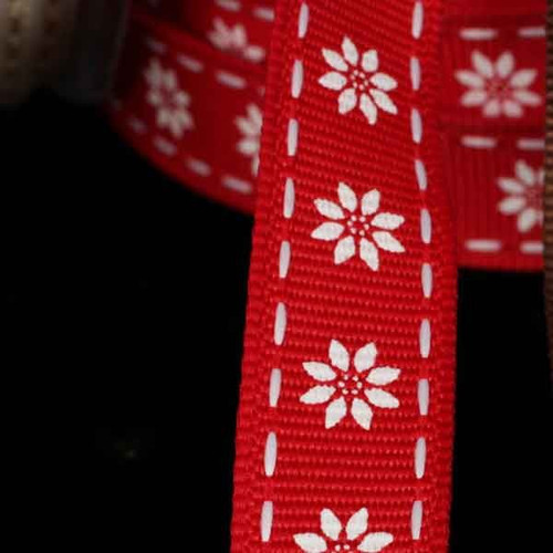 """Red and White Floral Wired Craft Ribbon 0.5"""" x 54 Yards - IMAGE 1"""
