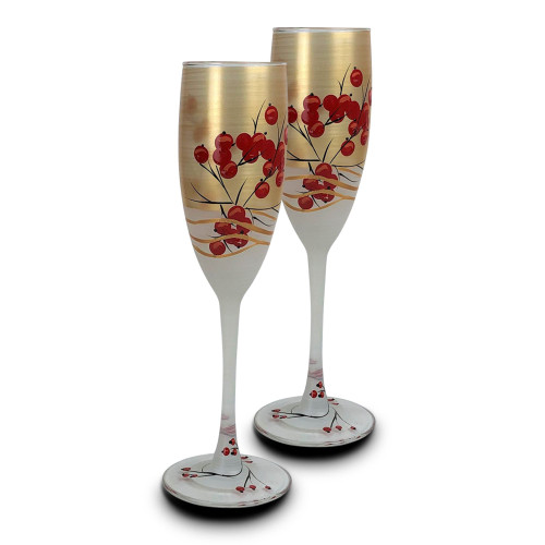 Set of 2 Red and Gold Berries Hand Painted Champagne Flute Drink Glass 5.75 oz. - IMAGE 1