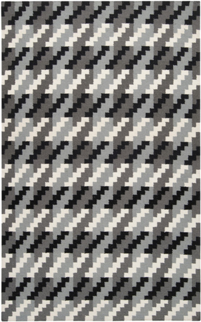 3.5' x 5.5' Pixel Polarity Gray and Black Hand Woven Wool Area Throw Rug - IMAGE 1
