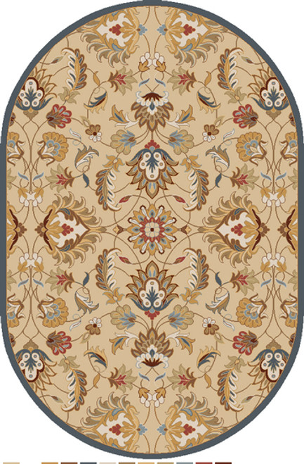 8' x 10' Flavian Caramel Brown and Tan White Hand Tufted Wool Oval Area Throw Rug - IMAGE 1