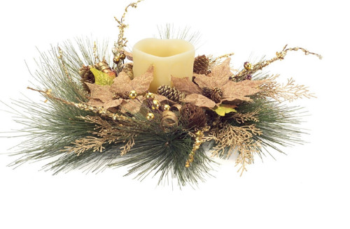 """19"""" Green and Gold Burlap Poinsettia Christmas Candle Ring Holder - IMAGE 1"""