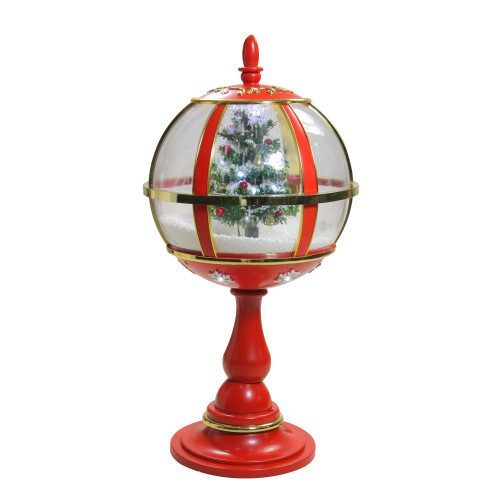 """23.5"""" Lighted Red and Gold Musical Snowing Christmas Tree Holiday Table Top Street Lamp - IMAGE 1"""