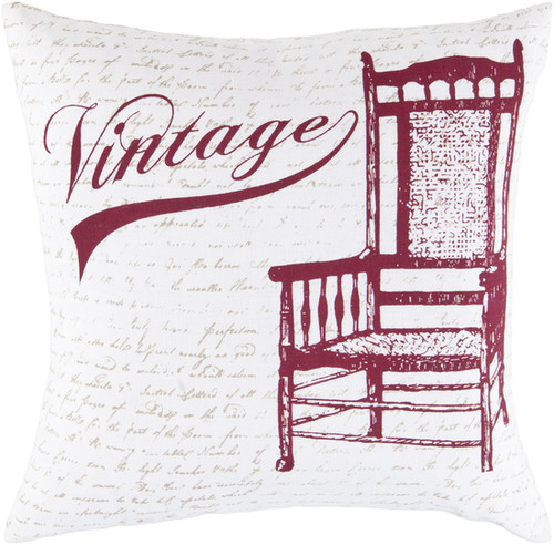 """22"""" White and Red Square Cotton Throw Pillow - Poly Filled - IMAGE 1"""