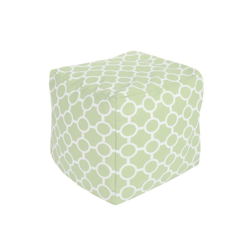 "18"" Mint Green and Ivory Gated Spheres Square Outdoor Patio Pouf Ottoman - IMAGE 1"