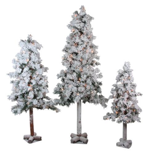 Pre Lit Flocked Artificial Christmas Trees: Set Of 3 Pre-Lit Heavily Flocked Alpine Artificial