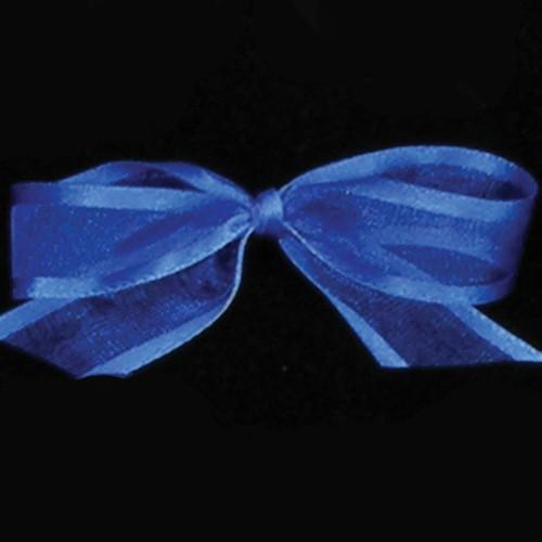 "Royal Blue Edged Organdy Georgette Craft Ribbon 0.5"" x 120 Yards - IMAGE 1"