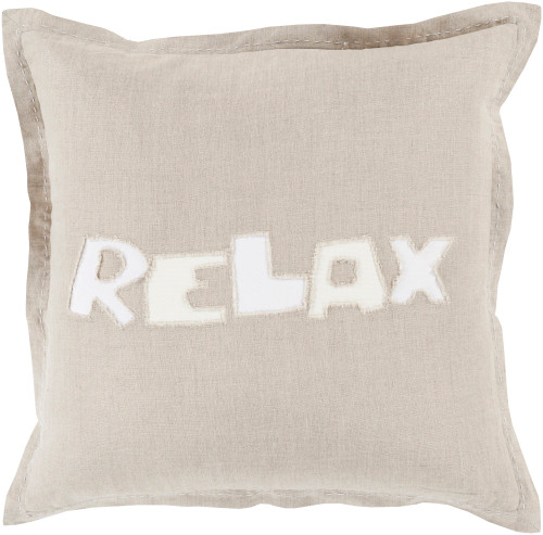 """20"""" Gray and White """"Relax"""" Square Throw Pillow - IMAGE 1"""