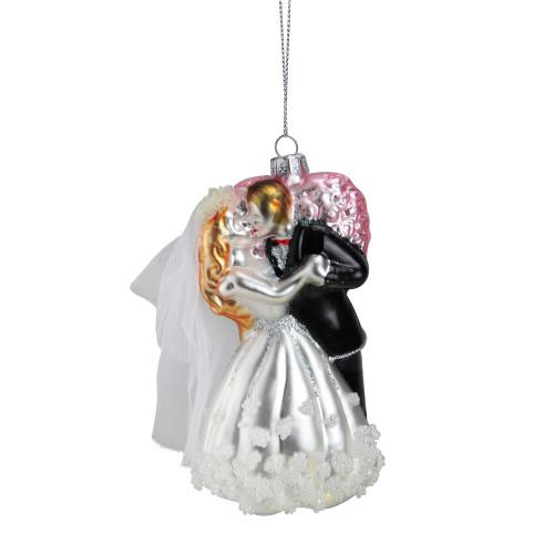 """5.25"""" Bride and Groom Kissing Glass Wedding Christmas Ornament - IMAGE 1"""