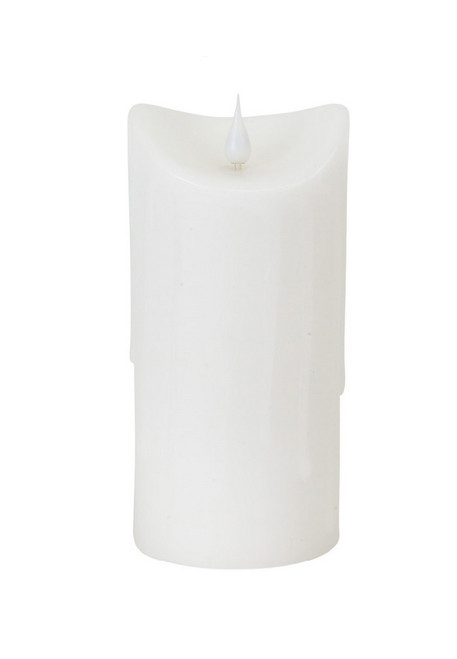 """7"""" White Dripping Wax LED Lighted Christmas Flameless Candle with Moving Flame - IMAGE 1"""