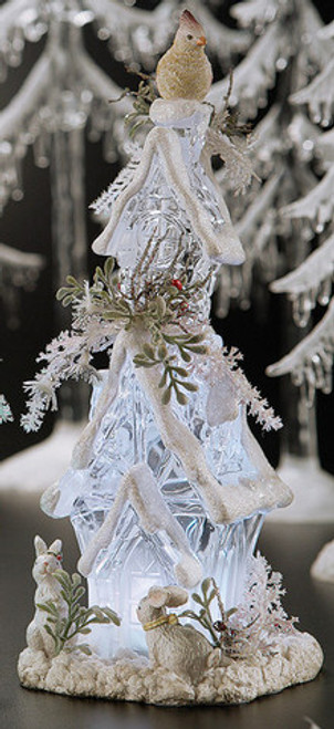 """Pack of 4 Clear Icy Crystal Illuminated Christmas Forest House Figurines 9.6"""" - IMAGE 1"""