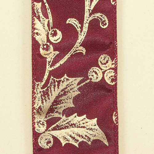 """Burgundy Red with Gold Poinsettia and Berry Print Wired Craft Ribbon 2"""" x 40 Yards - IMAGE 1"""