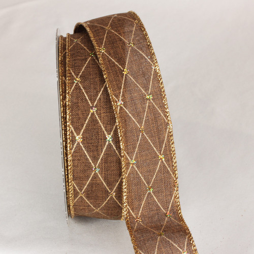 """Dazzling Brown and Gold Diamond Dot Wired Craft Ribbon 1.5"""" x 40 Yards - IMAGE 1"""