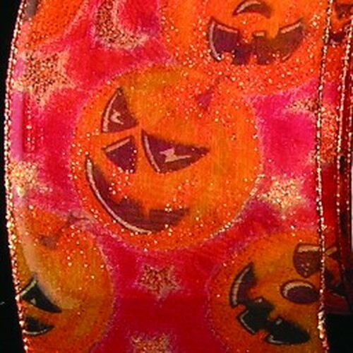 """Sheer Black and Pink Halloween """"Pumpkins"""" Wired Craft Ribbons 3"""" x 20 Yards - IMAGE 1"""