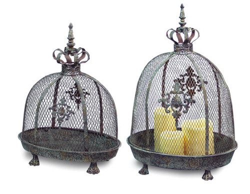 Set of 2 Renaissance Style Distressed Crown Top Dome Pillar Candle Lanterns - IMAGE 1