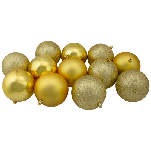"12ct Gold Shatterproof 4-Finish Christmas Ball Ornaments 4"" (100mm) - IMAGE 1"