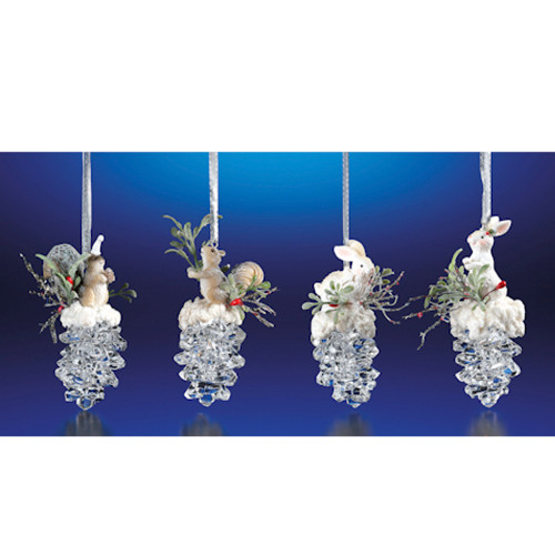 """Club Pack of 16 Clear Icy Crystal Christmas Squirrel and Rabbit Pinecone Ornaments 3.6"""" - IMAGE 1"""