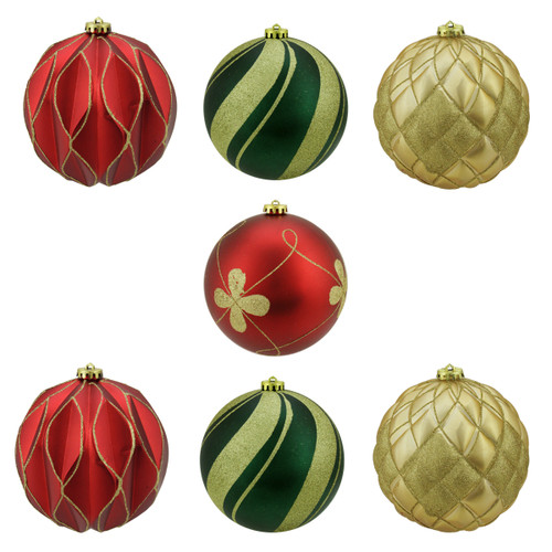 """7ct Red and Green Shatterproof 3-Finish Christmas Ball Ornaments 6"""" (150mm) - IMAGE 1"""