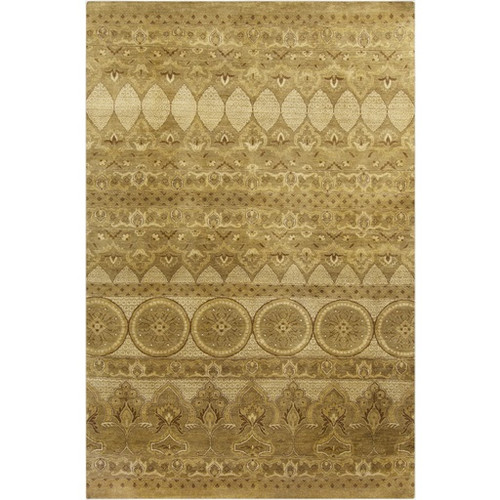 5.5' x 8.5' Traditional Green and Beige Hand Knotted Rectangular Wool Area Throw Rug - IMAGE 1