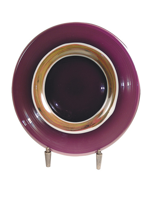 "20"" Purple and Brown Melrose Hand Blown Charger with Stand - IMAGE 1"