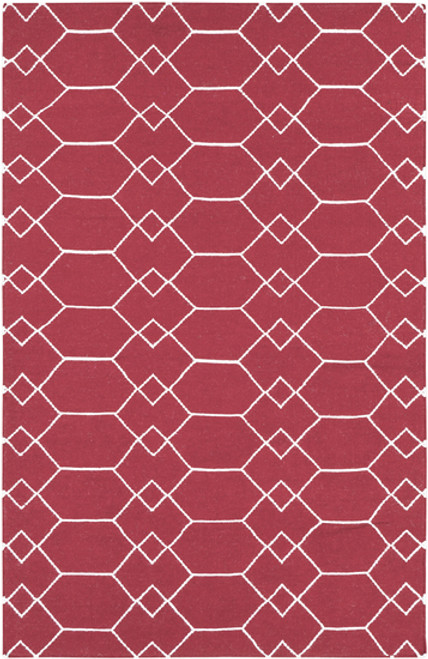 5' x 8' Beige and Red Hand-Woven Wool Area Throw Rug - IMAGE 1