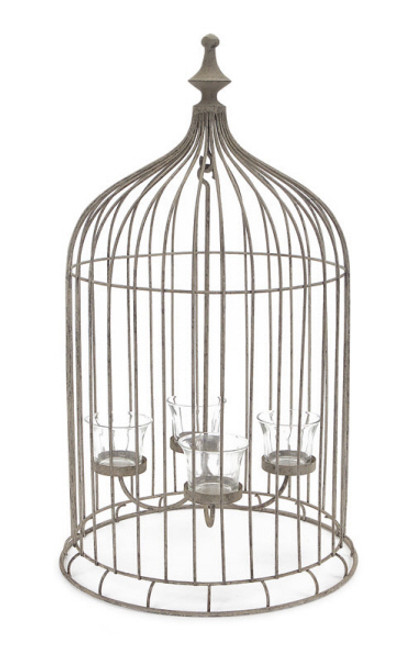 "23"" Rustic Antique-Style Bird Cage 4-Tea Light Candle Holder - IMAGE 1"
