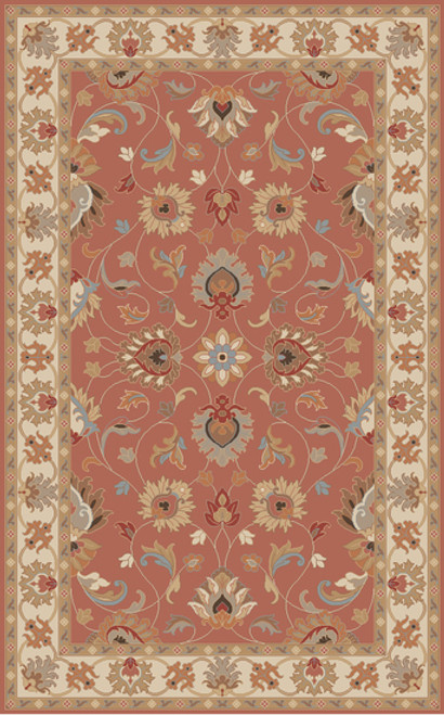 5' x 8' Floral Clay Red and Beige Hand Tufted Wool Area Throw Rug - IMAGE 1
