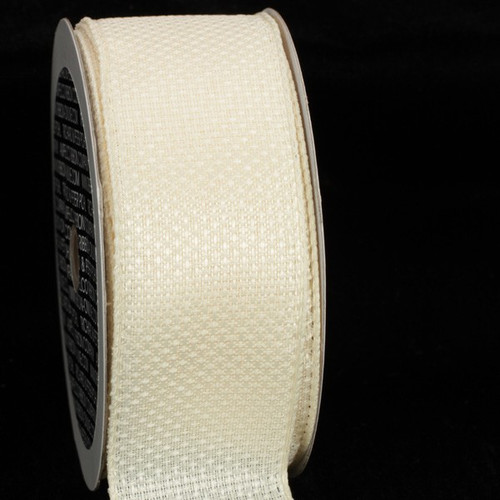 """Pearl White Contemporary Wired Craft Ribbon 1.5"""" x 80 Yards - IMAGE 1"""
