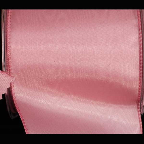 "Rose Pink Solid Moire Wired Craft Ribbon 4"" x 20 Yards - IMAGE 1"